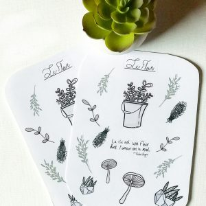 Set of two floral plant stickers